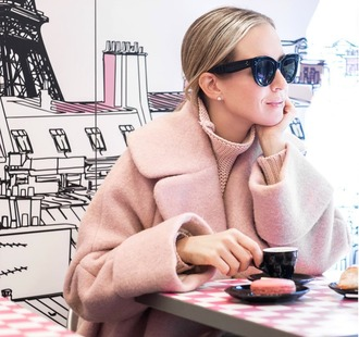 hallie daily blogger pink coat fall coat wool coat pink winter outfit