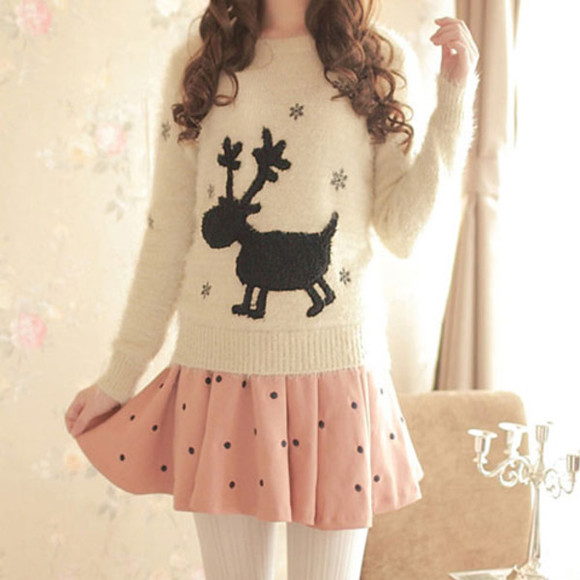cute skirt sweater dots pink adorable