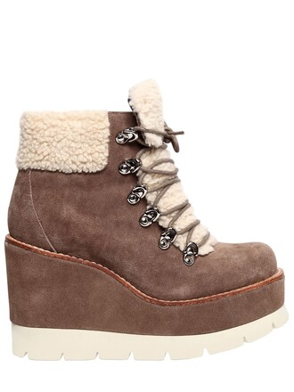 shearling boots boots suede beige taupe shoes