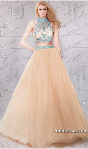 Amazing sheer beaded high neck two piece ball gown