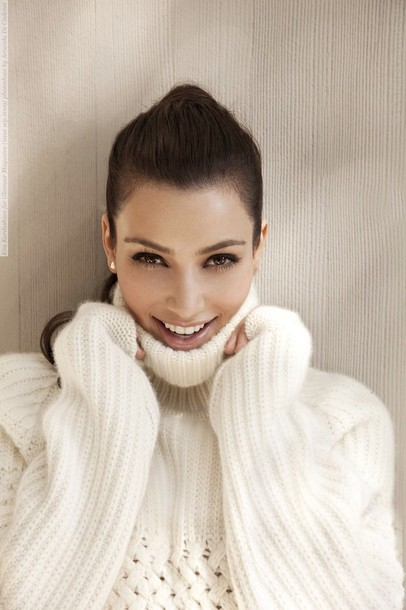 Sweater: turtleneck, kim kardashian, white sweater, winter sweater ...