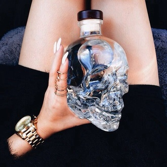 nail polish romper water bottle grunge skull nail accessories blouse skull glass bottle home accessory vodka on point clothing home decor interior nails ring cool house design decorative decorations tumblr jewels clear halloween decor