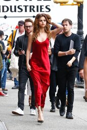 dress,clothes,red satin dress,selena gomez,satin dress,red dress,maxi dress