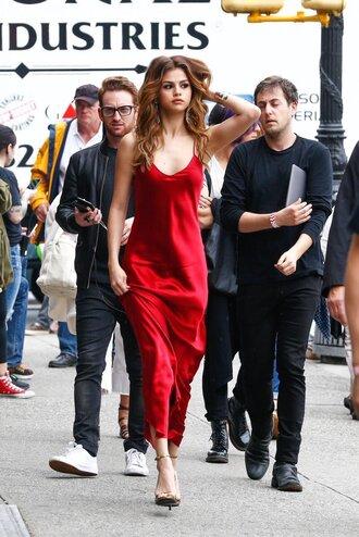 dress clothes red satin dress selena gomez satin dress red dress maxi dress