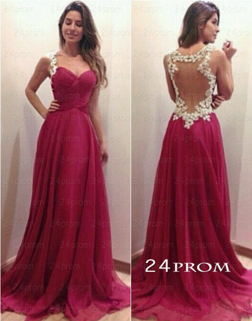 Line sweetheart red chiffon long prom dresses, evening dresses