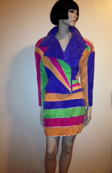 jacket lady gaga colorful skirt dope blue vintage colorblock orange purple green 80s 80s punk 80s theme party so 80s super bright inlove colorblock dress saved by the bell one shoulder party short dress dress, black, straight, sport, look, fashion, blog, blogger, vintage awsome katy perry