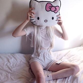 home accessory hello kitty kawaii pillow cute pink soft grunge pastel cats