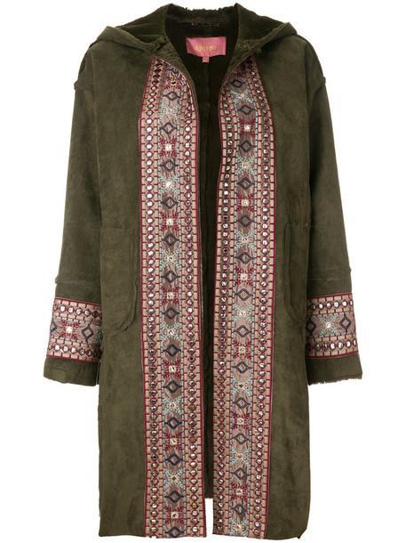coat women cotton green