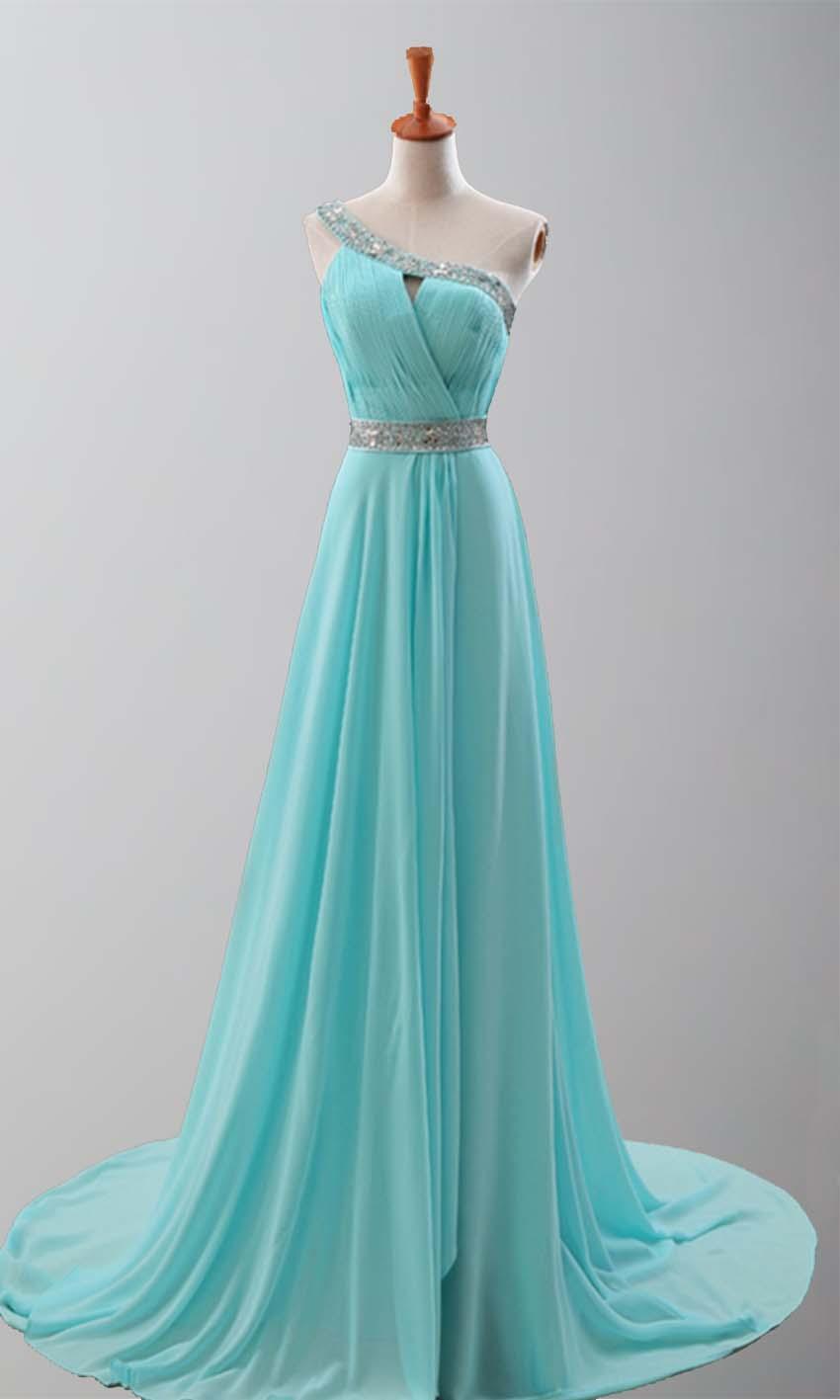 Goddess Teal Train One Shoulder Prom Dresses KSP251 [KSP251 ...