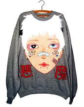 sweater,grunge,white hair,pastel goth,goth,japanese,anime,freckles,stickers,horn,piercing,2tone eyes,bandaged nose,face,grey