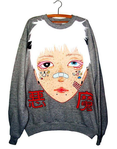 sweater grunge white hair pastel goth goth japanese anime freckles stickers horn piercing 2tone eyes bandaged nose face grey