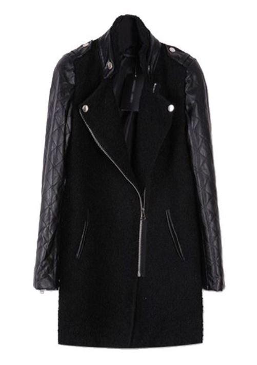 Black wool coat with contrast pu sleeve