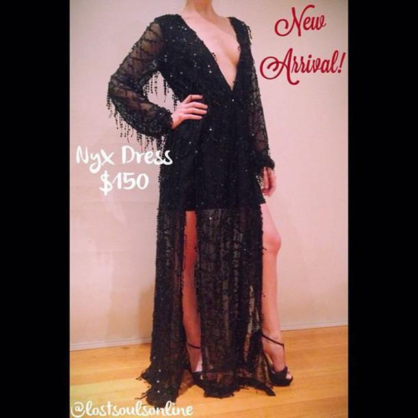 09a7961f dress lost souls black dress black sequin dress black maxi dress sequin  maxi dress sequin dress