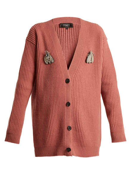 Rochas cardigan cardigan oversized bee wool pink sweater