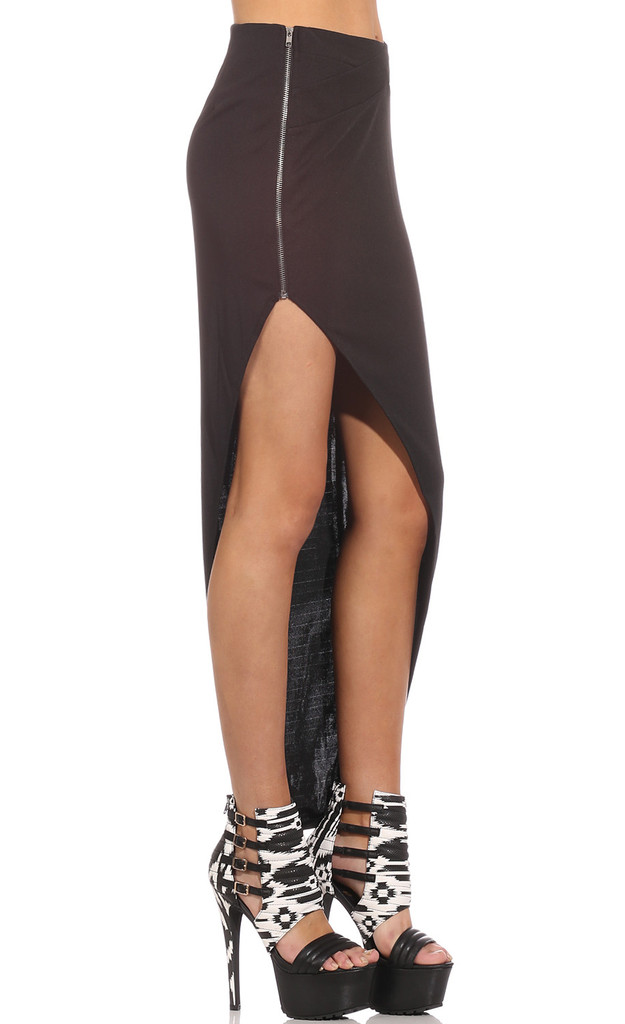 Chic side zip black asymmetrical skirt