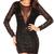 Sexy Hot Women Black Sequin Micro Dancer Mini Dress Sheer Back Clubwear s M L XL | eBay