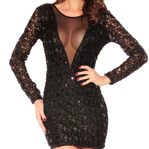 Sexy Hot Women Black Sequin Micro Dancer Mini Dress Sheer Back Clubwear s M L XL | eBay