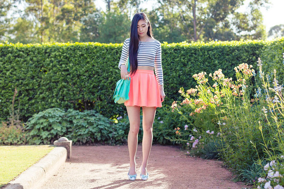 coral metallic paws blogger jewels skater skirt striped sweater satchel bag aqua
