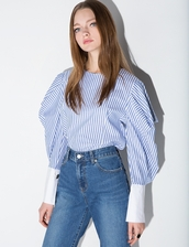 shirt,balloon sleeve stripe shirt,stripe shirt,balloon sleeve shirt,balloon sleeves,pixiemarket,28719,business casual,man repeller,stylenanda,korean fashion,korean style,refinery29,whowhatwear,streetstyle