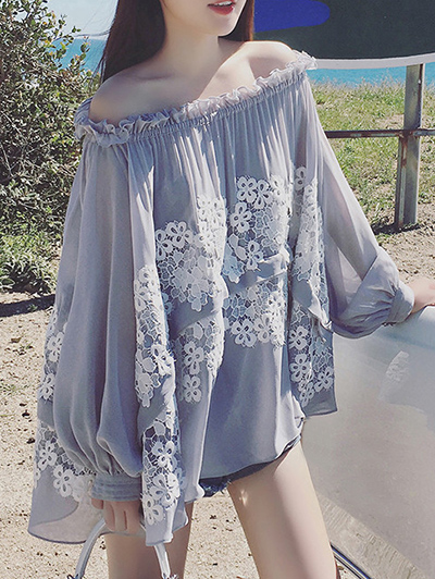 Lace Spliced Off The Shoulder Long Sleeve Blouse