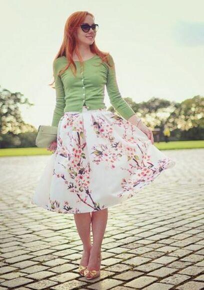 midi skirt skater skirt cherry blossom retro