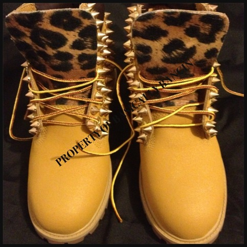 Bscllybangin12 | Spiked Wheat & Leopard Timberlands (Toddler 4-12) | Online Store Powered by Storenvy
