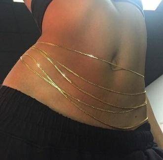 jewels gold tumblr girl body chain gold chain