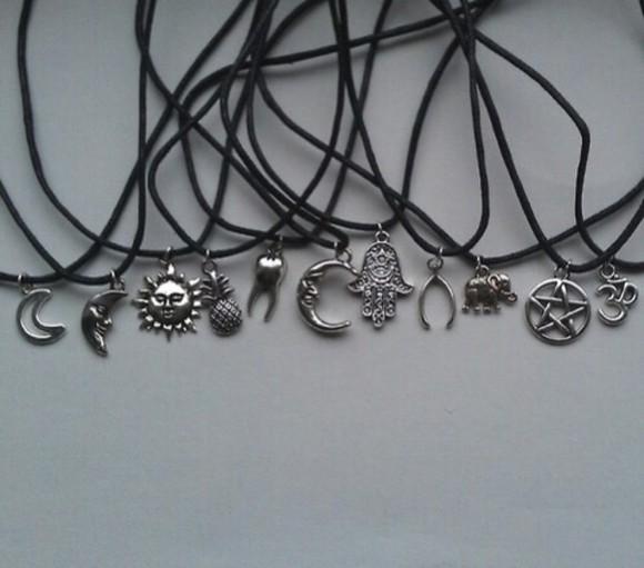 jewels moon sun sun necklace moon necklace black necklace silver necklace pineapple print pineapple necklace jewellery online crocker neckless grunge