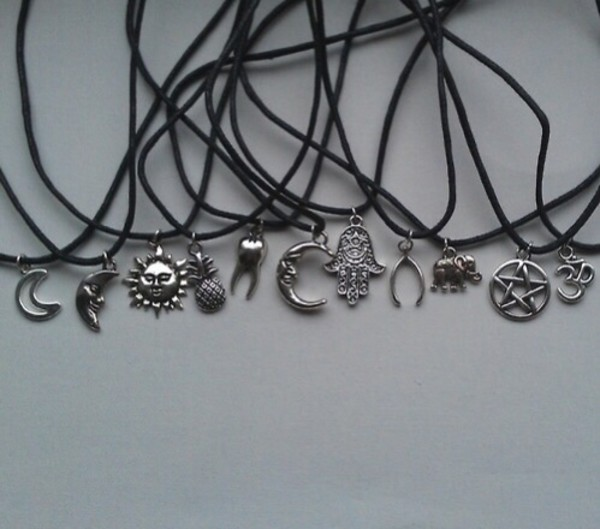 jewels jewelry crocker necklace grunge black necklace silver necklace moon sun moon necklace sun necklace pineapple pineapple necklace choker necklace jumpsuit