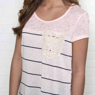 shirt frocket pocket amazinglace lace stripes short sleeve