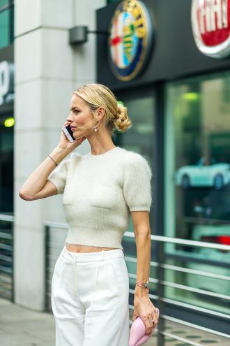 sweater cropped sweater streetstyle london fashion week 2016 pants