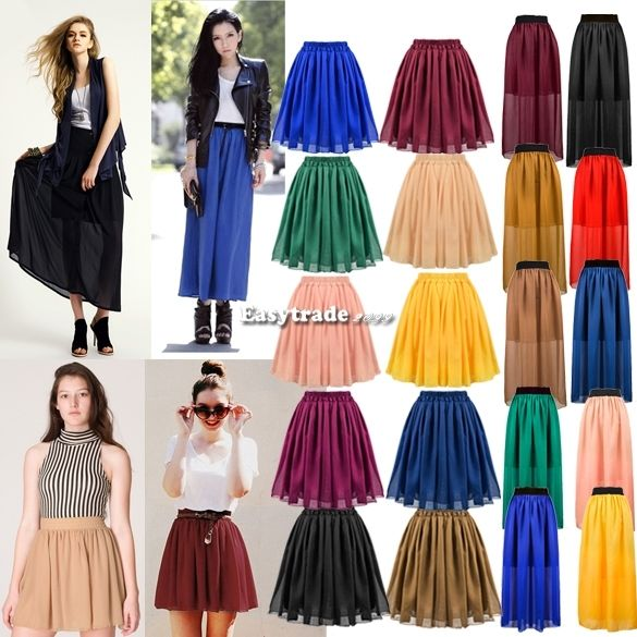 Women's Girl Chiffon Pleated Retro Long Maxi Dress Short MIDI Mini Skirt Fashion | eBay