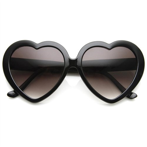 Womens Oversized Polk-Dot Heart Shaped Sunglasses (Black) - Rakuten.com Shopping