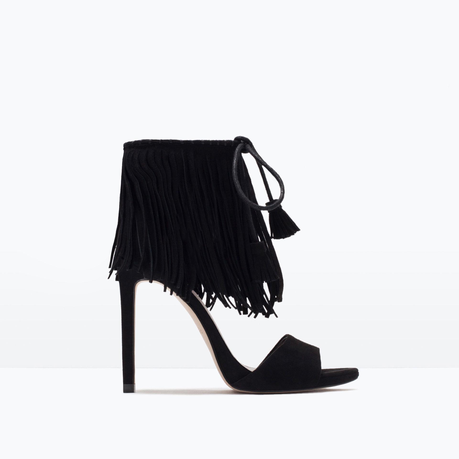 9f79ed3e2c7 FRINGED HIGH HEEL SANDALS - High - heels - Shoes - WOMAN ...