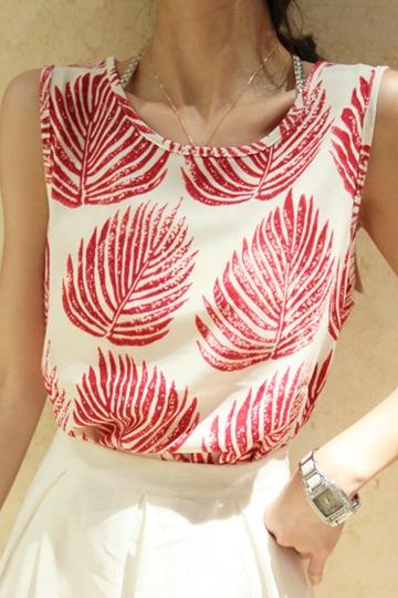Red Leaves Summer Vest [FCBI00266]- US$11.99 - PersunMall.com