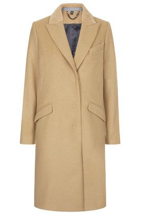 **sheepskin collar wool coat