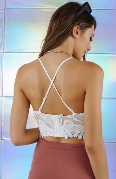 37a8da5678ab79 White V-neck Cross Backless Cropped Lace Bralet