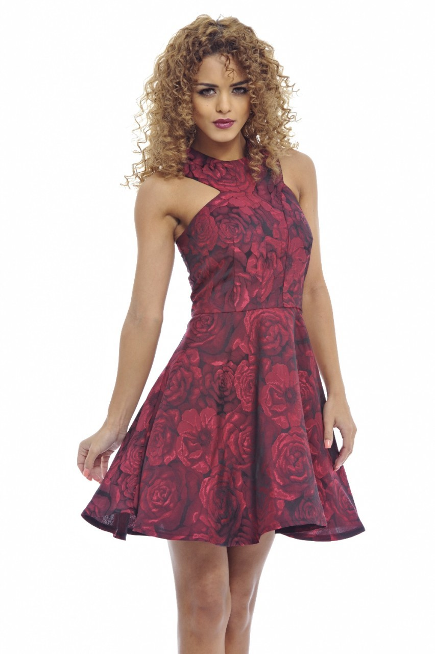 Red Rose Kick Out Skater Dress