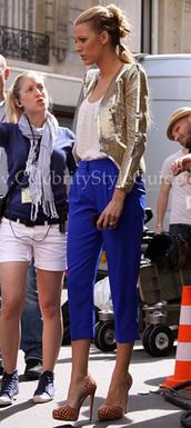 blake lively,serena,gossip girl,blue pants,pants,jacket,golden jacket,serena van der woodsen