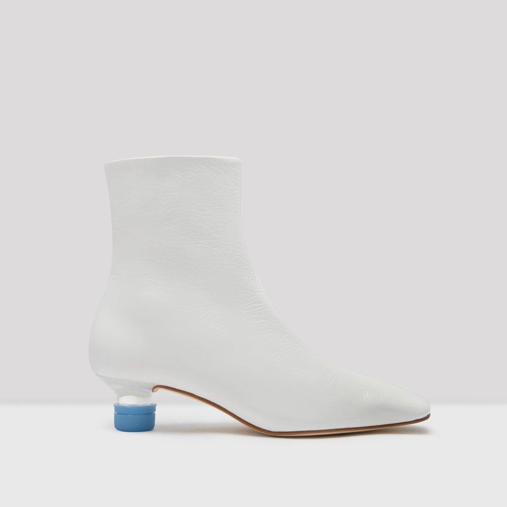 Veronika White Patent Leather Boots