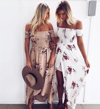 dress maxi girly maxi dress floral flowers floral dress summer summer dress off the shoulder off the shoulder dress white nude