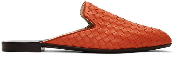 Bottega Veneta Orange Intrecciato Slippers