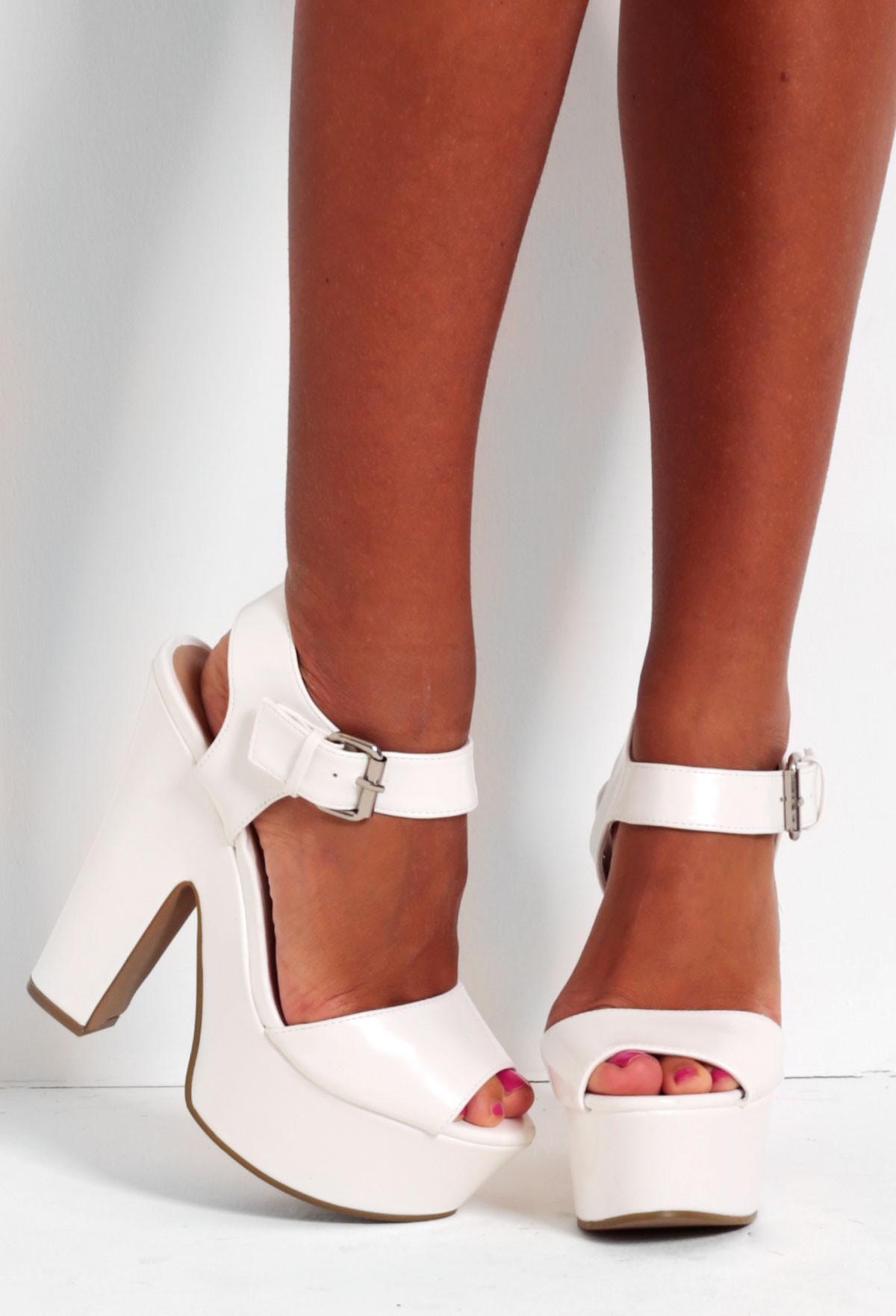 Macchiato White Shine Platform Wedge Shoes | Pink Boutique