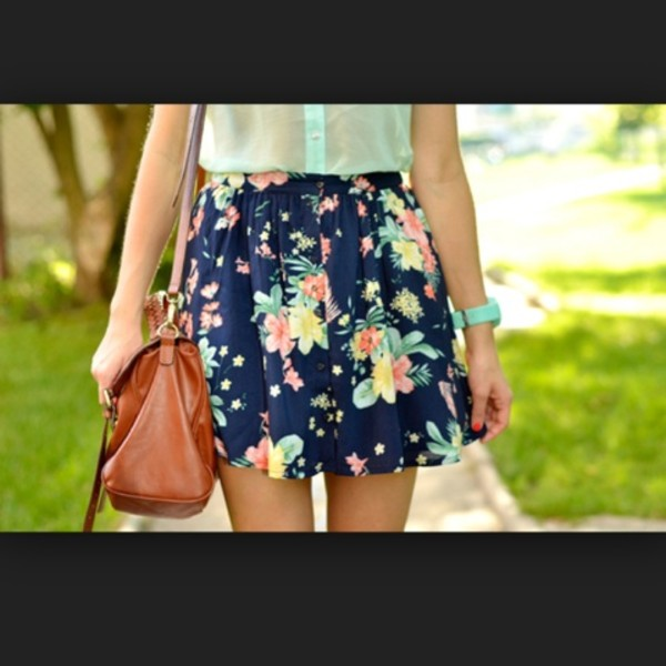 skirt floral floral skirt navy navy blue skirt tan purse turquoise flowers turquoise pink flowers tight at waist flowing