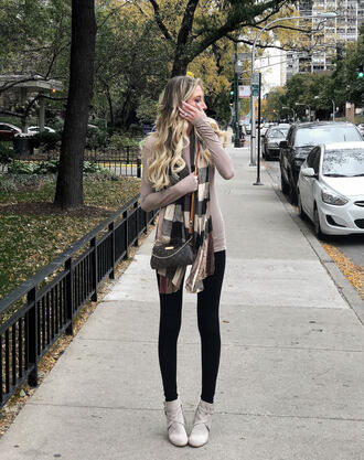 carly cristman blogger scarf leggings shoes fall outfits ankle boots louis vuitton bag