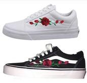 shoes,white,roses,2017,cute,sneakers,white sneakers,black,black sneakers,kicks,rose,vans,pink blue white vans,white vans sk8 hi high tops,damn daniel,white shoes,black shoes,printed vans,cute shoes,flowers