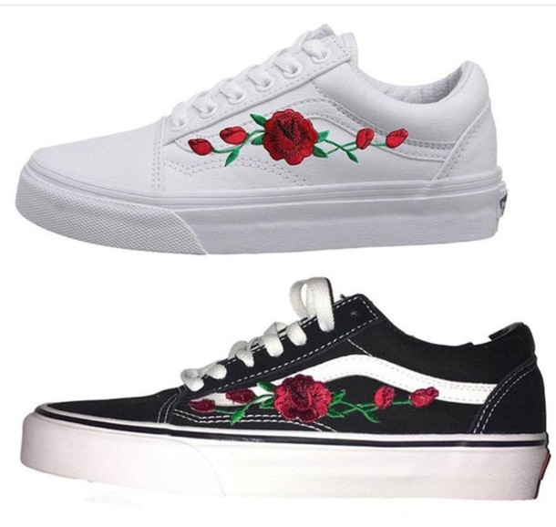 9215eb24d18240 shoes white roses 2017 cute sneakers white sneakers black black sneakers  kicks rose vans pink blue