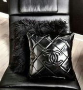 jewels,black pillow,chanel,feathers,accessories,pillow,home accessory