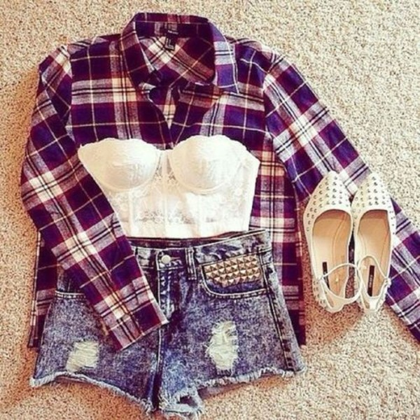 blouse jacket shorts underwear pants plaid shirt bralette cute outfits summer outfits blue burgundy flannel checkered cotton shirt plaid summer high waisted top lace corset lace bralette white crop tops white shirt
