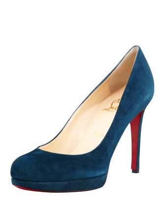 Christian Louboutin New Simple Suede Platform Red Sole Pump, Blue Kohl - Bergdorf Goodman